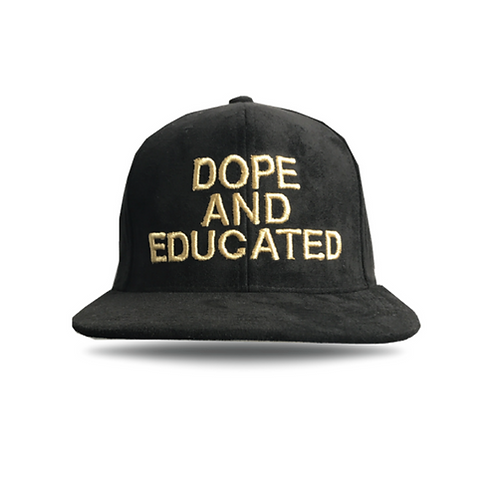 Black Gold Suede Snapback Dope and Educated Men Fashion