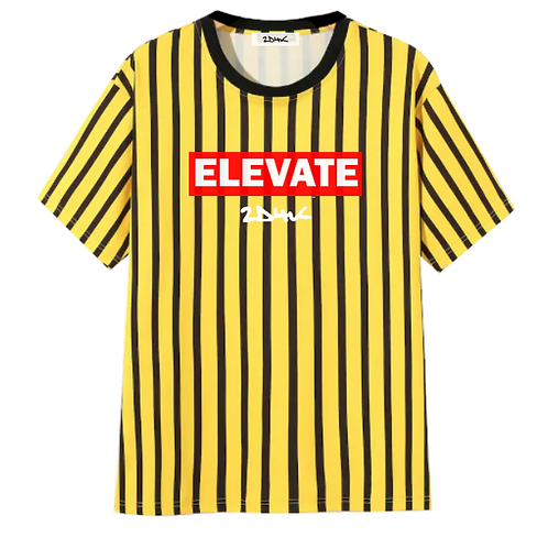 Stripe yellow black jersey shirt elevate 90s patch