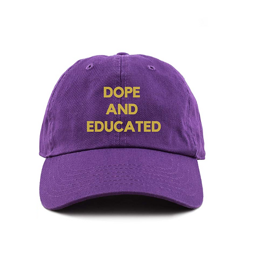 Purple Dad Hat College Dope and Educated Omega Psi Phi Q Dog