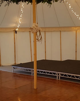 staging in sailcloth marquee