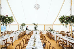 rustic trestle tables marquee wedding