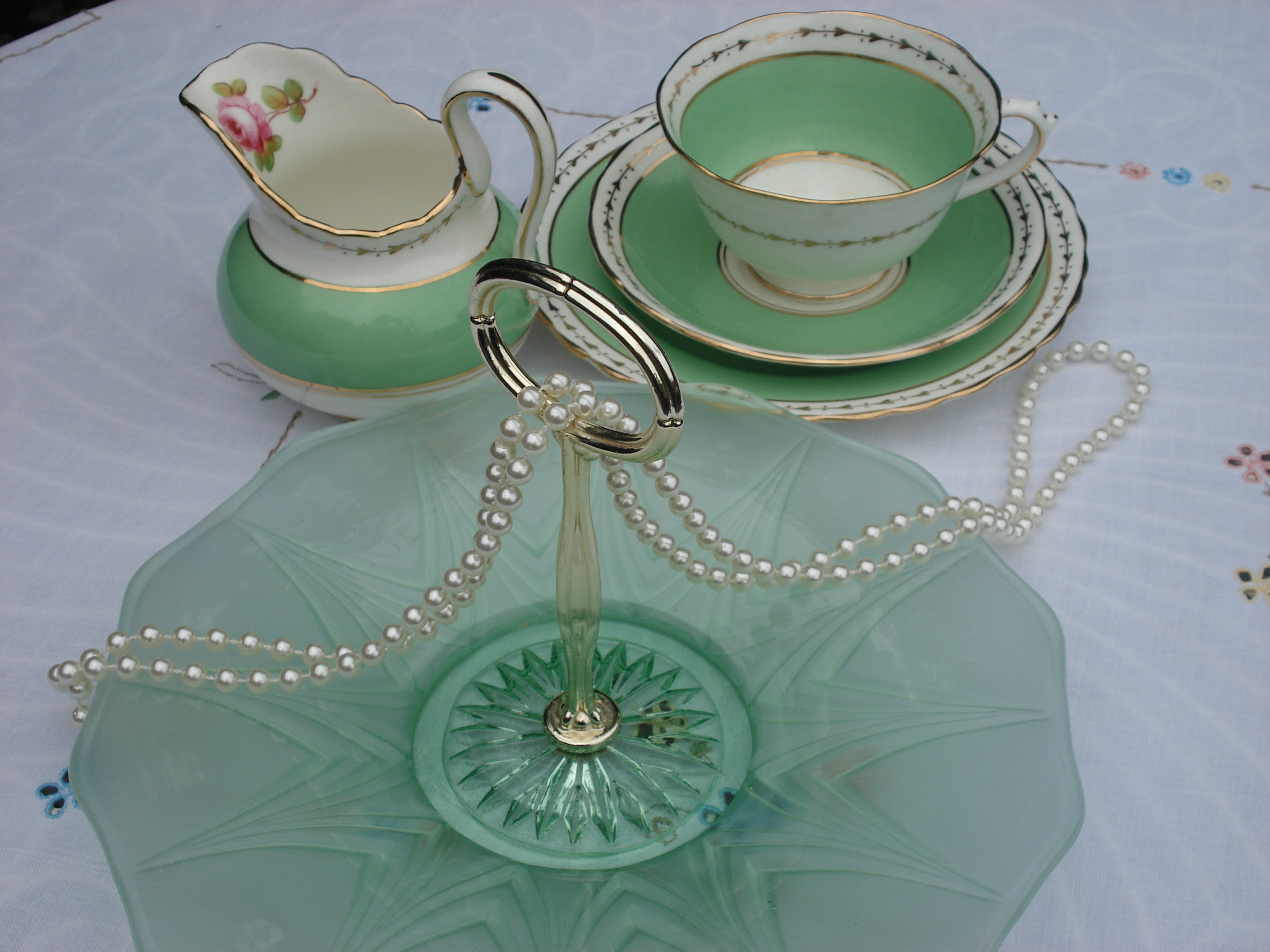 Pale Green cake plate