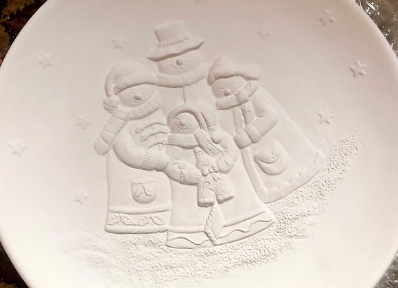 Embossed Snow Family Plate