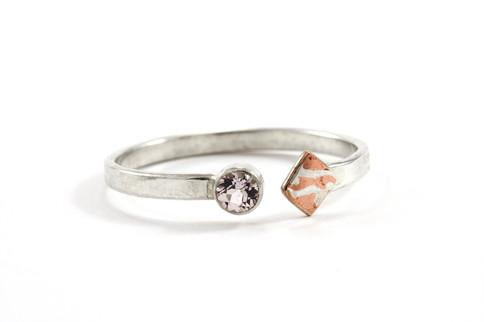 Mokume Gane Geometric Ring