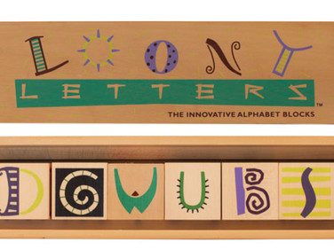 LOONY LETTERS—The innovative alphabet blocks. Stack, build, knock, roll, spell, create, imagine, and play!