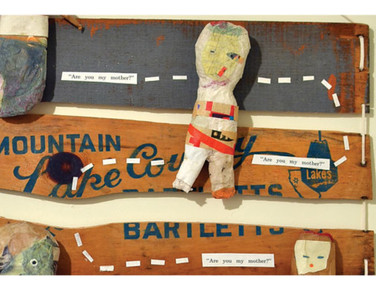 """ARE YOU MY MOTHER? 2010 20"""" x 30"""" x 2"""" Paper mache dolls and found wood inspired by P. D. Eastman's classic children's book, Are You My Mother?"""