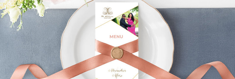 Ribbon with Wax Seal Menu Card - DL Size