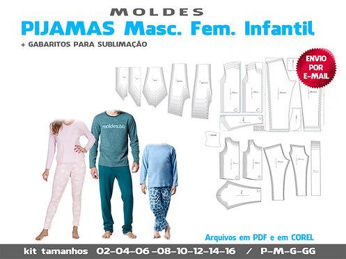 Kit Pijamas Masculino Feminino e Infantil