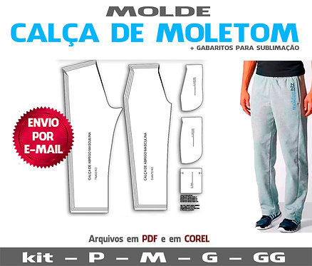 MOLDE CALÇA MOLETOM MASCULINA
