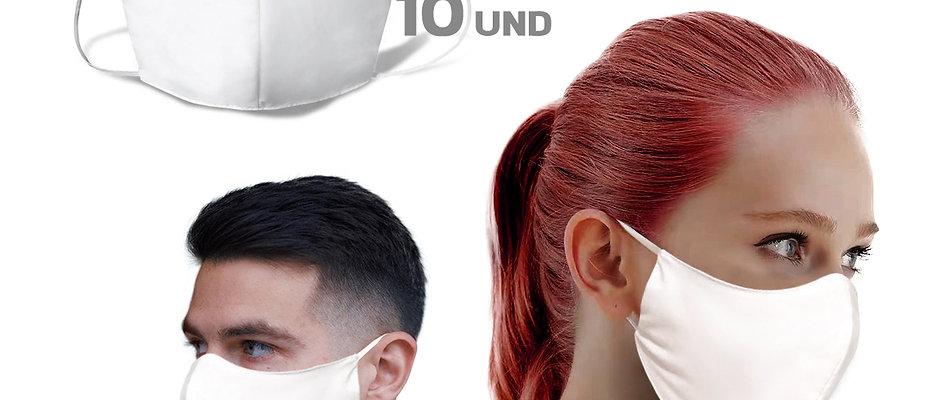 10 Mascaras Dupla Proteção 100% Algodão - Lavável