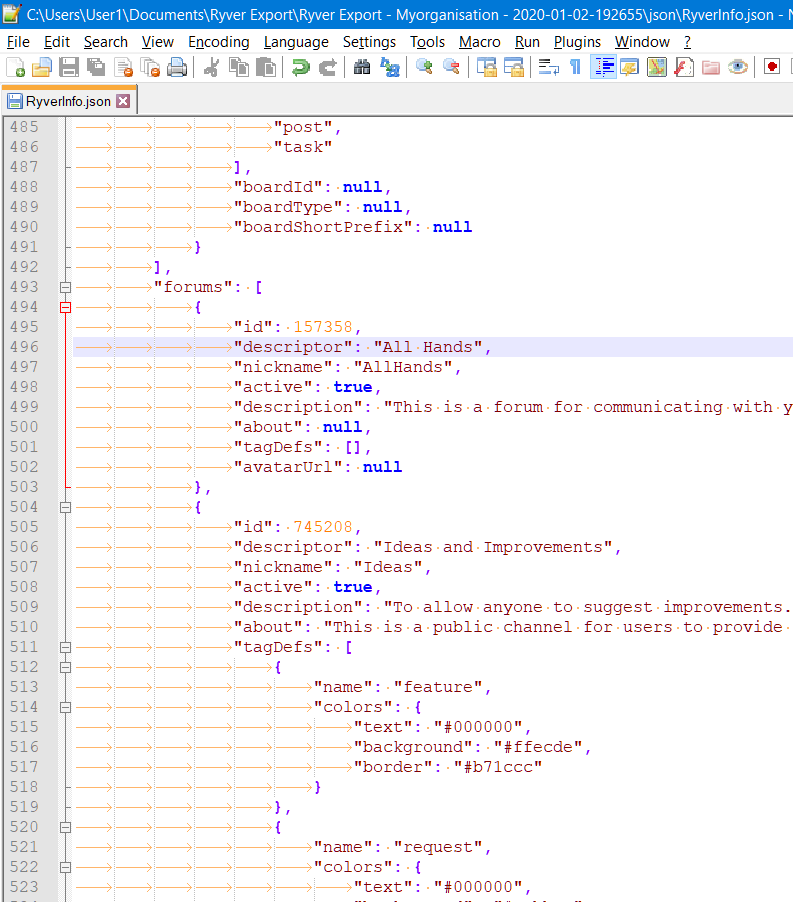 Example exported JSON