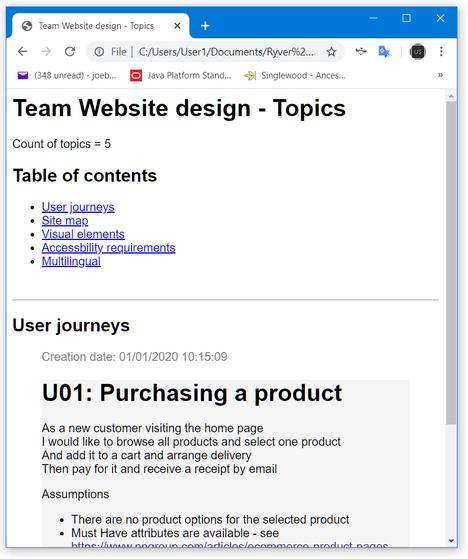 Example team topics HTML