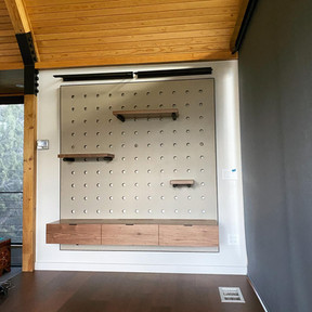 Custom Peg Board Shelf Unit