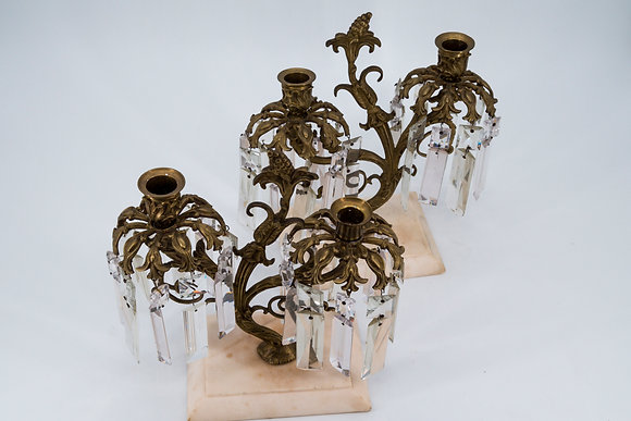 19th Century Brass Candle Holder with Crystal Prisms& Marble Base (Pair)