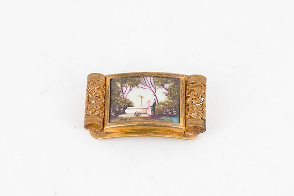 "C1950 ""The Memory Of Love""Hand Painted Brooch"