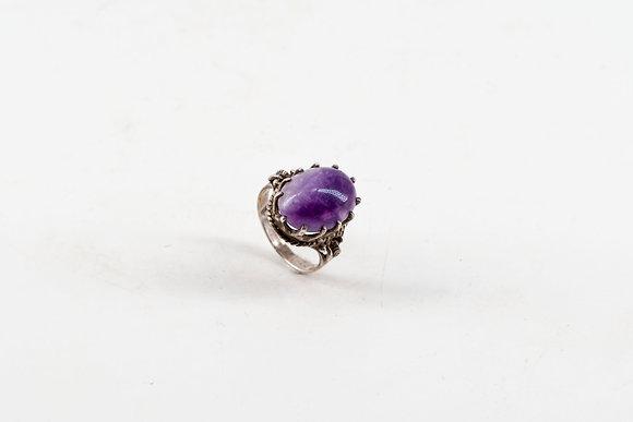Amethyst Agate Silver Ring
