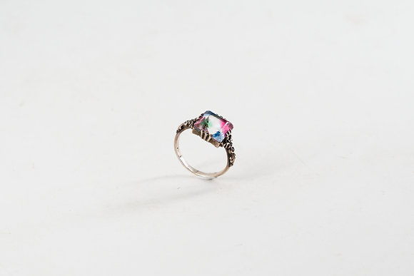 Colourful Stone Silver Ring