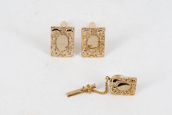 Dangal Vintage 14k Gold Cufflink & Tie Tack Pin