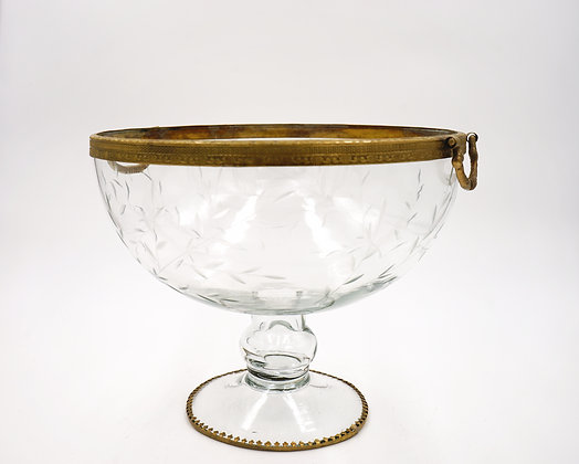 FRUIT BOWL WITH HANDLE (GOLD)