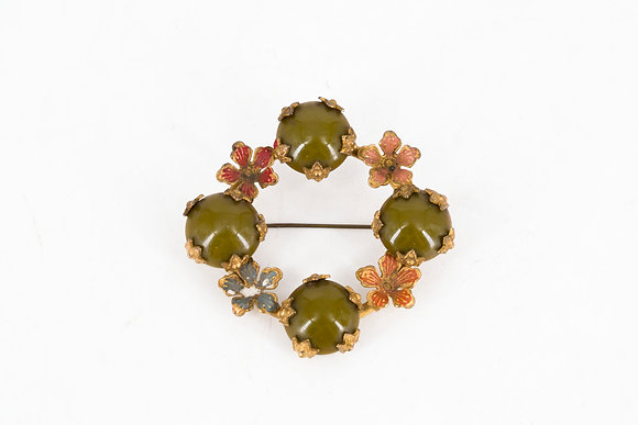 Vintage Circular Brooch with Flower and Stone Decorations