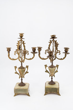 Victorian Solid Brass & Onyx Base Candelabra Candle Holder (Pair)
