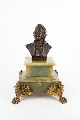 Green Onyx & Brass Mozart Bust Figure