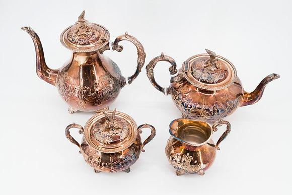 1870-1900 John Turton 4-Piece Tea Set Hand Chased Silver