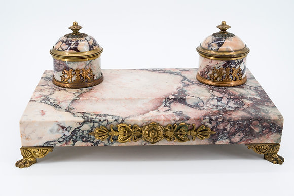 19th Century French Art Deco Marble & Brass Inkwell