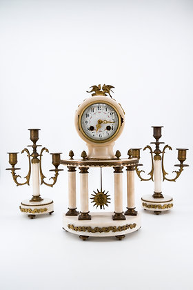 C1890 French Marble and Ormulo Clock with matching Candelabras