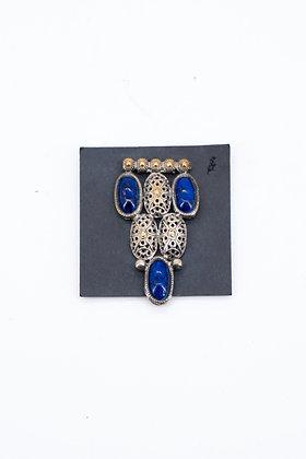 1920-30 Silvered Brass & Lapis Glass Dress Clip
