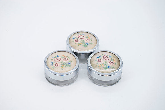 1930-60s Jewellery Box with Embroidered Decorated Lid