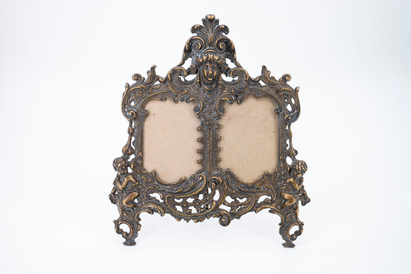 19th Century Rococo Style Brass Photo Frame