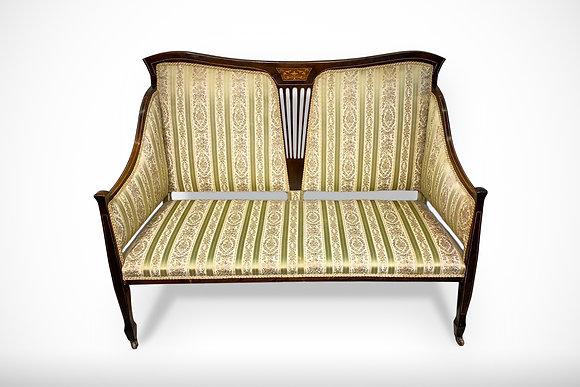 1900s  Emerald Stripe Harp Design Couch Sofa