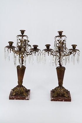Marble Bronze Cut Glass Candle Stand (Pair)