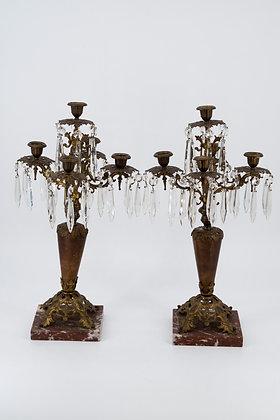 大理石青銅玻璃裝飾 燭台(對)