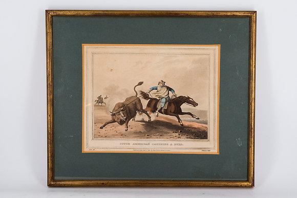 "C1813 Fine Aquatint ""South American Catching a Bull"""