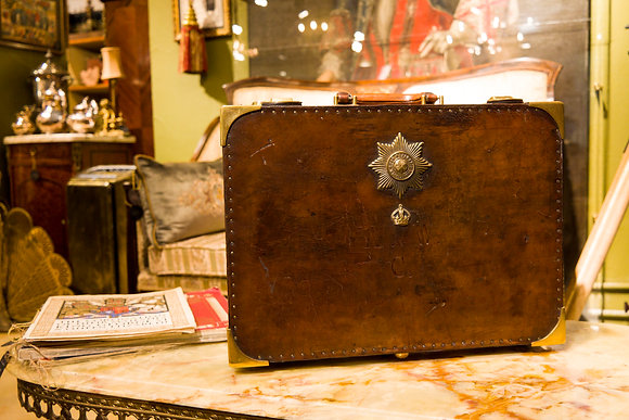 c1930 Irish Guards Leather Suitcase