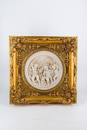 19th Century Angels Sculpture with Frame (Pair)