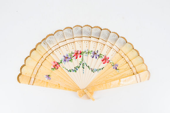 C1920 Hand Painted Fan (Old Plastic)
