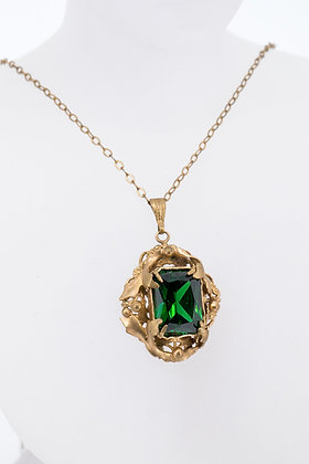 Vintage Bronze Necklace with Green Glass Stone