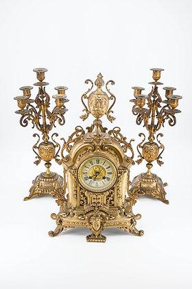 Antique Brass Clock Set