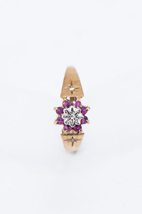 1969 London 9ct Gold Diamonds & Pink Sapphire Ring