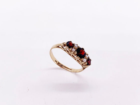 Ring -Gold, Garnet, Seed Pearls