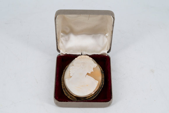 C1860維多利亞時代 黃銅浮雕胸針