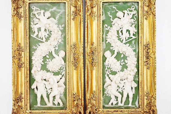 """19世紀""""天使的天堂""""白綠色浮雕品"""