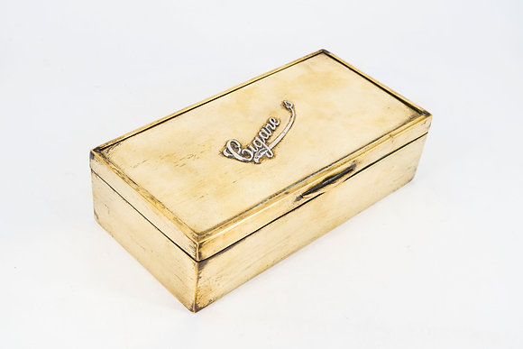 1915年謝菲爾德 黃銅和銀 木製雪茄盒