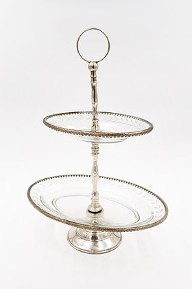 OVAL 2-TIER CAKE STAND (SILVER)