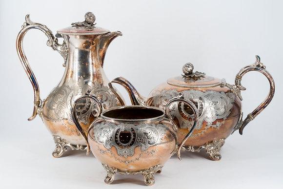 Victorian James Dixon & SonsEPBM Tea Pot Set of 3