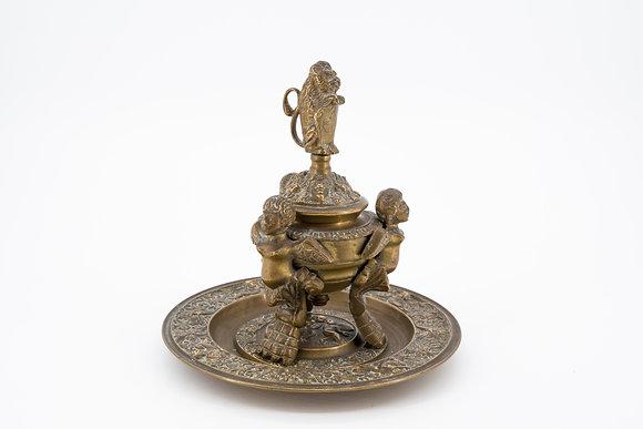 Antique Bronze Angel Inkwell
