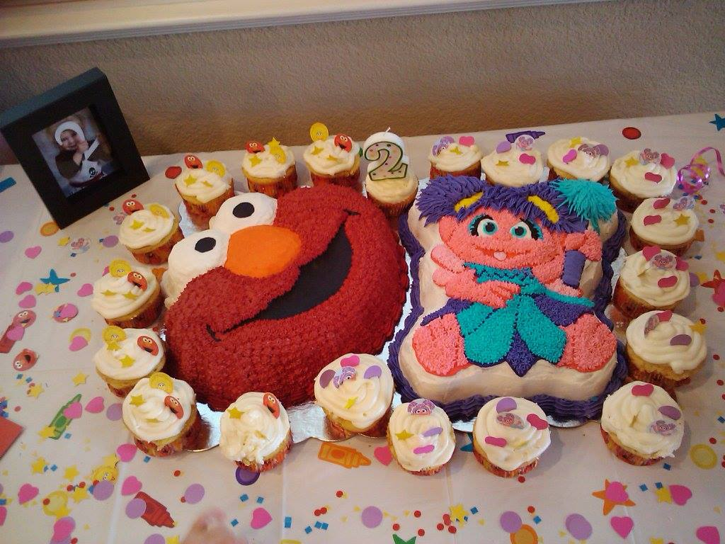 Elmo and Abby Cake and Cupcakes